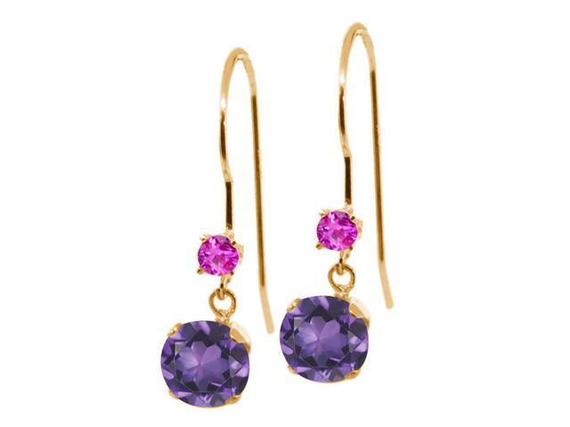 1.06 Ct Round Purple Amethyst Pink Sapphire 14K Yellow Gold Earrings