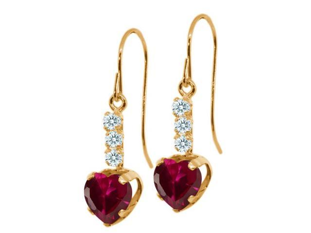 2.05 Ct Heart Shape Red Created Ruby White Sapphire 14K Yellow Gold Earrings