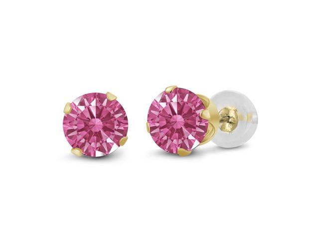 0.92 Ct Red 14k Yellow Gold Earrings Made With Swarovski Zirconia