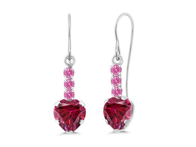 1.66 Ct Red 14K White Gold Earrings Made With Swarovski Zirconia