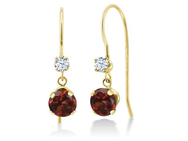 1.30 Ct Round Red Garnet 14K Yellow Gold Earrings