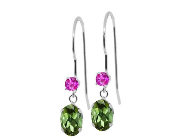 0.96 Ct Oval Green Tourmaline Pink Sapphire 14K White Gold Earrings