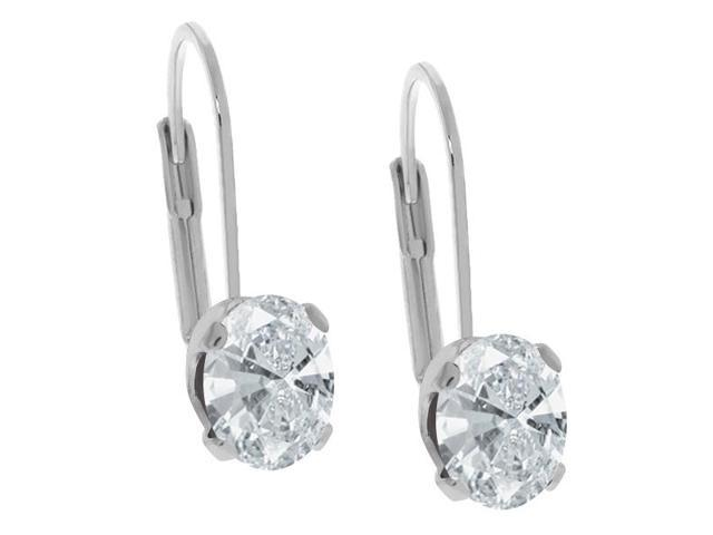 2.42 Ct White 925 Sterling Silver Earrings Made With Swarovski Zirconia