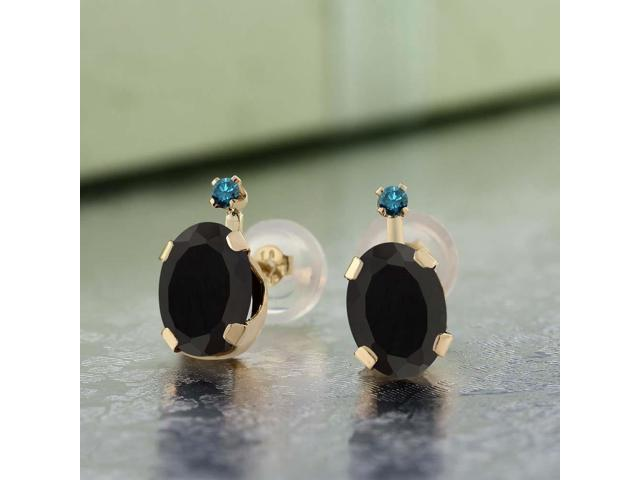 1.37 Ct Oval Black Onyx White Diamond 14K Yellow Gold Earrings
