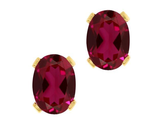 1.88 Ct Oval 7x5mm Red Created Ruby 18K Yellow Gold Stud Earrings