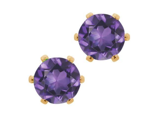 1.50 Ct Round 6mm Purple Amethyst Brass Yellow Gold Plated Brass Stud Earrings