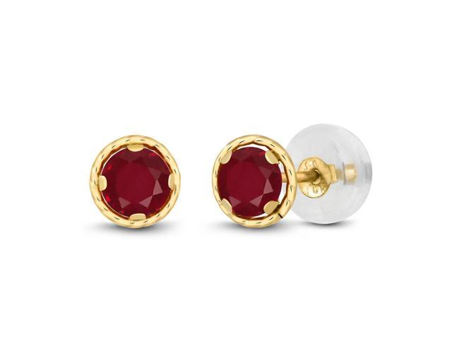 0.60 Ct Round 4mm Red Ruby 14K Yellow Gold Stud Earrings