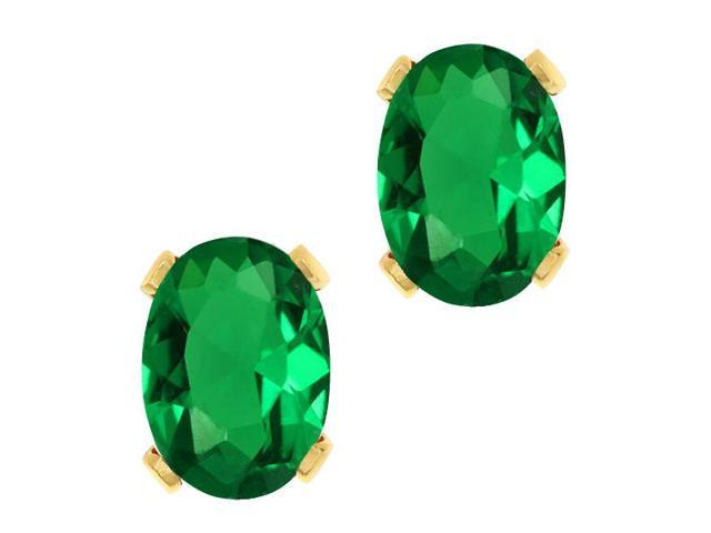 1.20 Ct Oval 7x5mm Green Nano Emerald 18K Yellow Gold Stud Earrings