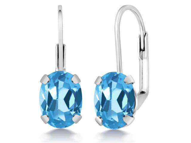 3.00 Ct Oval Swiss Blue Topaz 925 Sterling Silver Earrings