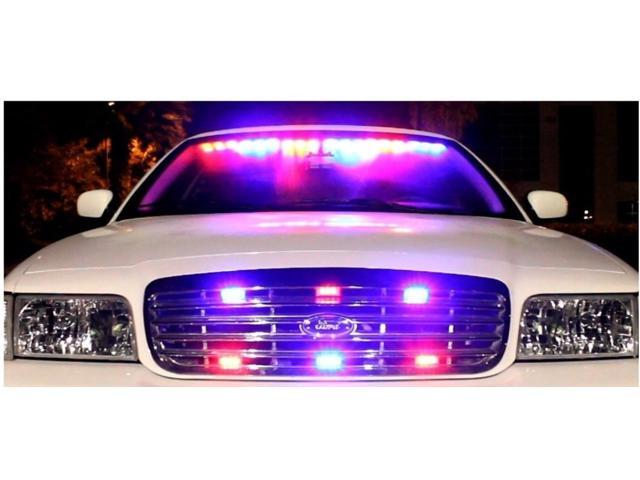 54 LED Car/Truck Strobe Emergency Warning Light for Deck Dash Grill Blue/Red