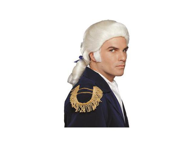 Mens Costume Wigs White Royal Colonial Ponytail+Bow Wig