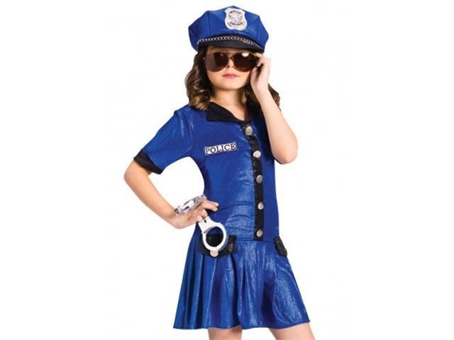 Girls Police Officer Cute Kids Cop Halloween Costume L