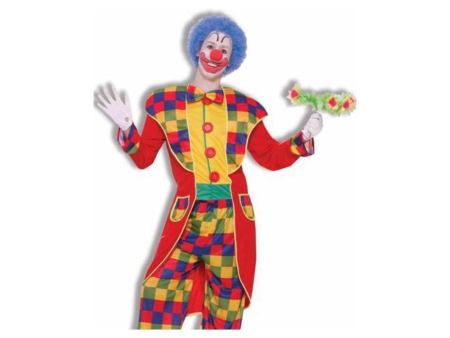 Mens Bright Checker Clown Tuxedo Birthday Party Costume
