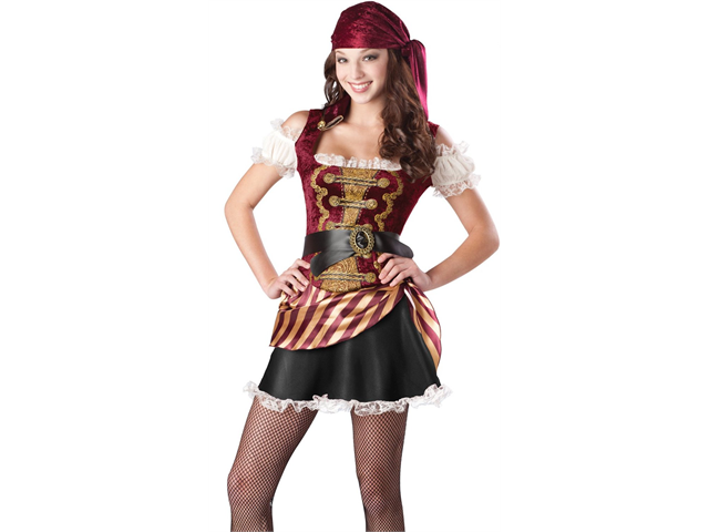 New Teen Girls Caribbean Pirate Halloween Costume