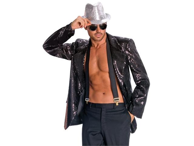 Mens Disco Musical Jazz Rockstar Pimp Costume Black Sequin Jacket