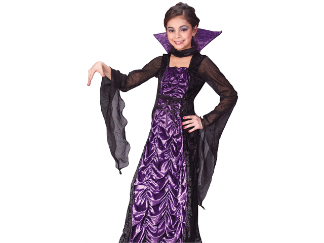 Kids Girls Evil Gothic Medieval Vampire Queen Halloween Costume