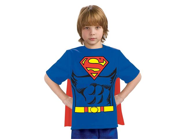 Kids Boys Superman Halloween Costume Tee Shirt & Cape