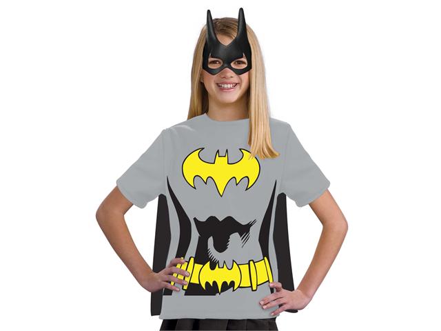 Kids Girls Batgirl Batman Halloween Costume Tee Shirt Mask & Cape
