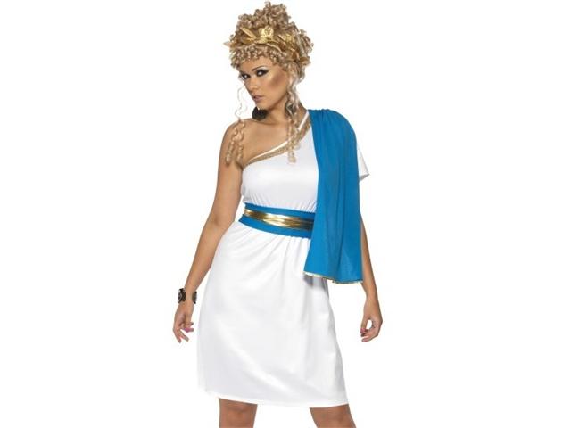 Womens Roman Greek White Blue Toga Halloween Costume