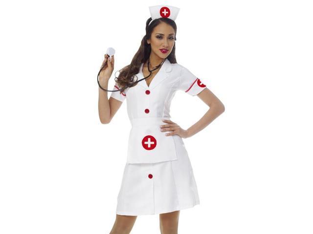 Womens White Nurse Dress Outfit Halloween Costume