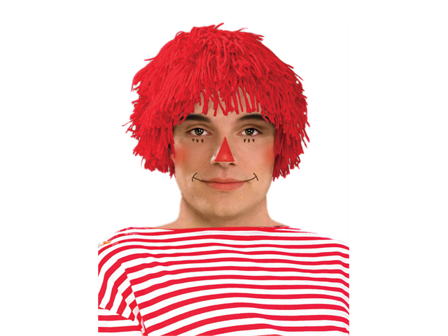 Mens Red Rag Doll Adult Raggedy Andy Yarn Costume Wig