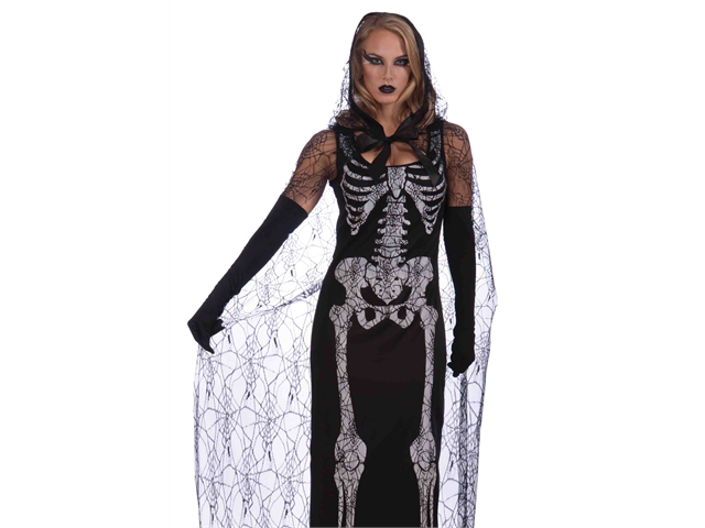 Sexy Goth Spiderweb Skeleton Dress Halloween Costume