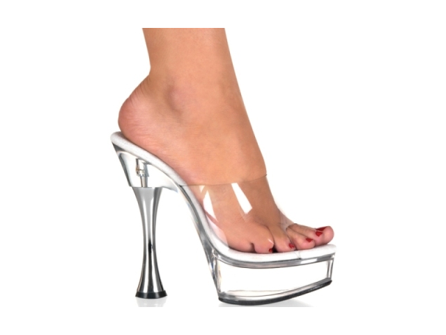 Sexy Clear High Cone Heels Platform Dancer Shoes