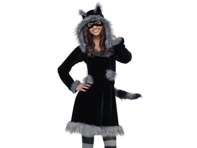 Junior Teen Girls Furry Racoon Animal Halloween Costume