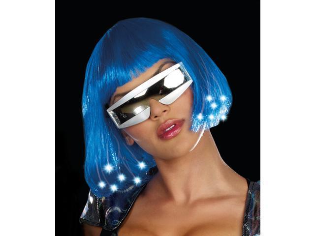 Short Blue Bangs Bob Light Up Cyber Sci Fi Adult Wig