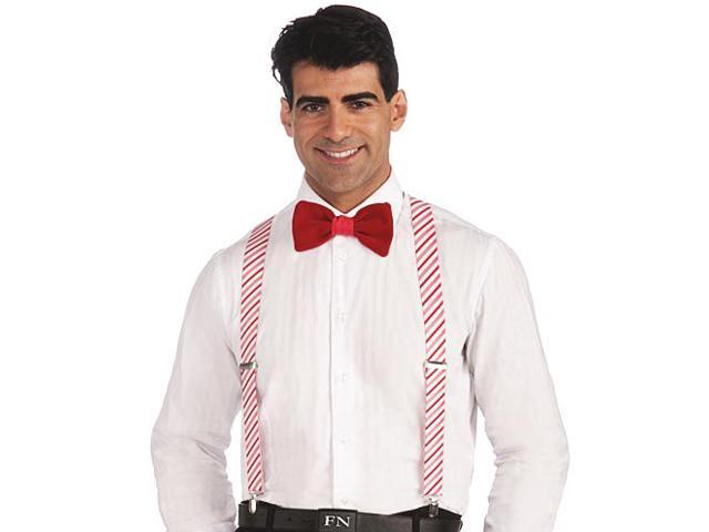 Mens Fun Candy Cane Christmas Stripe Suspenders