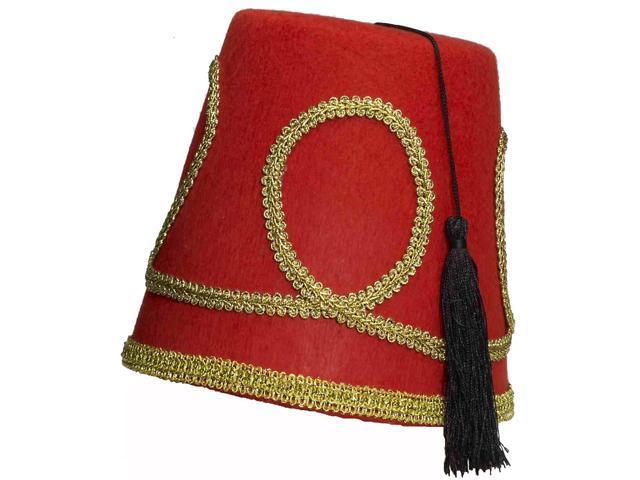 Mens Deluxe Red Fez Arabian Aladdin Costume Hat