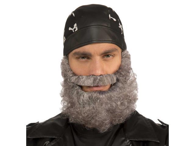 Mens Full Gray Curly Beard Halloween Costume Accessory
