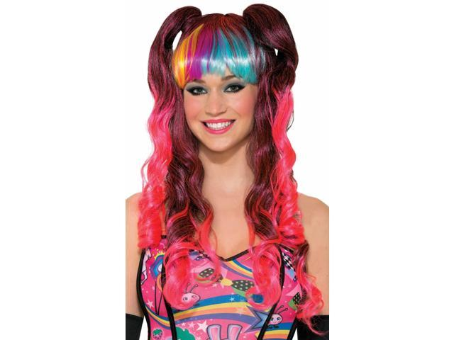 Womens Rave Anime Long Rainbow Curly Pigtails Costume Wig