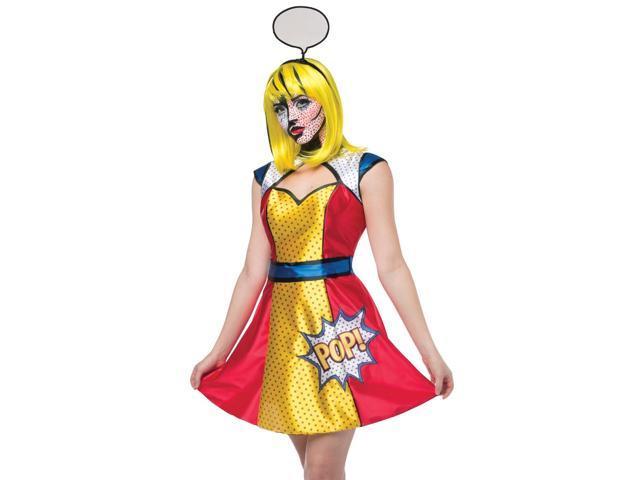 Sexy Comic Book Character Retro Pop Art Womens Halloween Costume