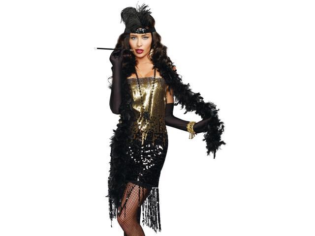Womens Sexy Black Gold Flapper 20s Halloween Costume