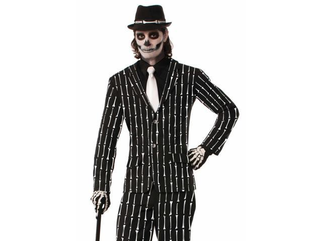 Mens Zombie Skeleton Bone Pin Stripe Suit Halloween Costume