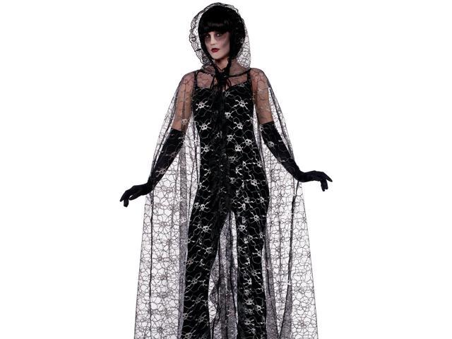Adult Gothic Black Lace Skull Vampire Halloween Costume Cape
