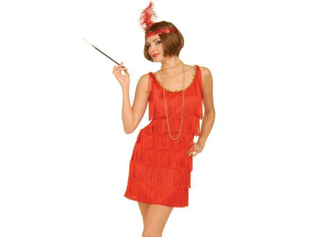 Womens 1920s Costume Red Fringe Flapper Girl Dress