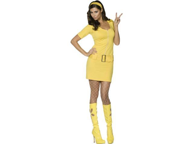 Sexy 60s 70s Retro Yellow Dress Halloween Costume