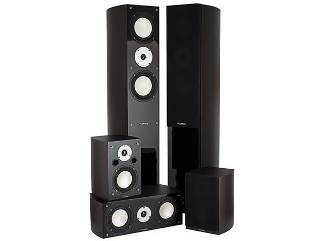 Fluance XLHTB-DW High Performance 5 Speaker Surround Sound Home Theater System (Dark Walnut)