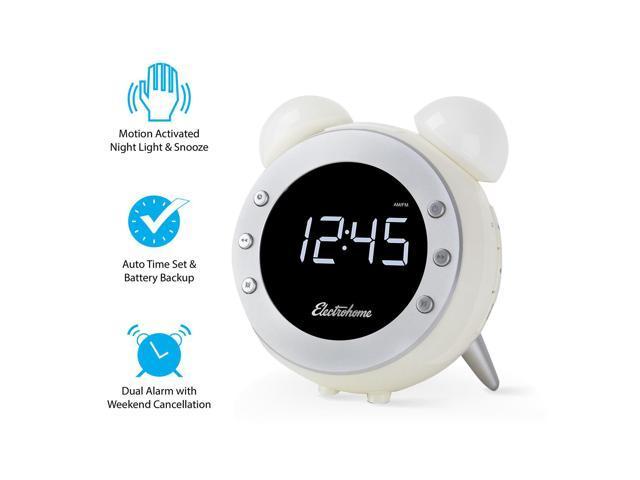 electrohome retro alarm clock radio with motion activated. Black Bedroom Furniture Sets. Home Design Ideas