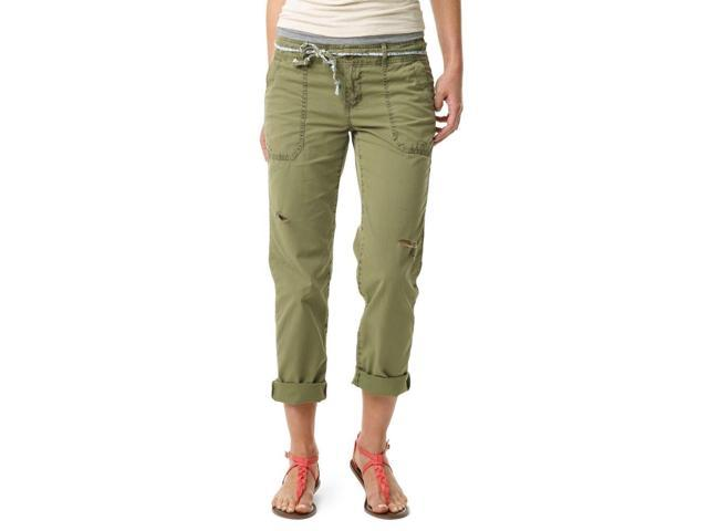 Aeropostale Womens Straight Leg Belted Casual Chino Pants armygreen 3/4x32