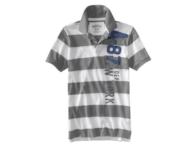 Aeropostale Mens Stripe Rugby Polo Shirt sharkfigray XS