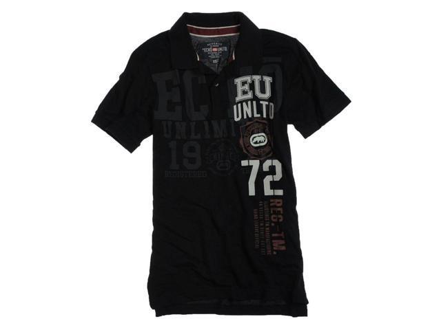 Ecko Unltd. Mens Ss Numeral Rugby Polo Shirt black S