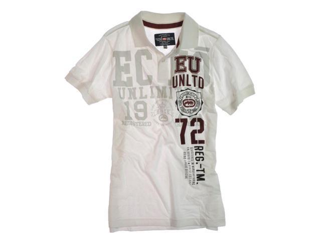 Ecko Unltd. Mens Ss Numeral Rugby Polo Shirt blchwhite XS