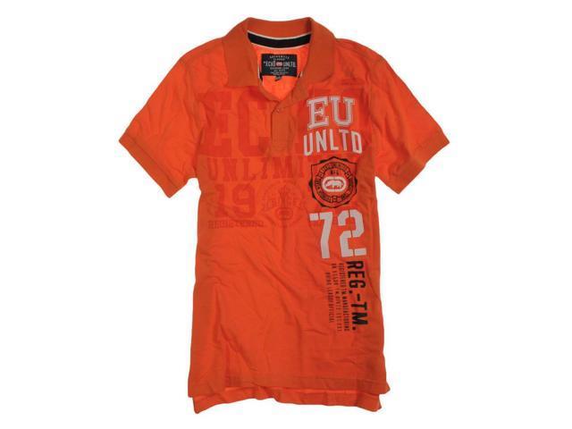 Ecko Unltd. Mens Ss Numeral Rugby Polo Shirt deeporang S