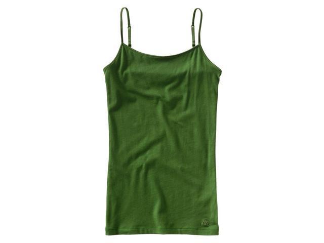 Aeropostale Womens Solid Color Spaghetti Strap Tank Top botanicgreen M