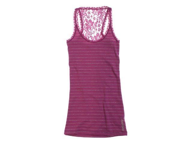 Ecko Unltd. Womens Stripe Rib Lace Boy Racerback Tank Top raspbrry XS