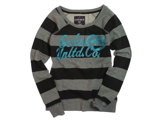 Ecko Unltd. Womens Stripe Glitter Heart Rhino Knit Sweater black S