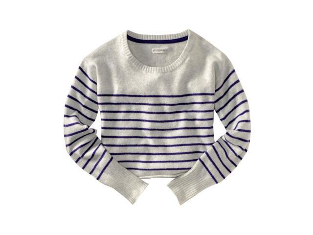Aeropostale Womens Long Sleeve Opposite Stripe Knit Sweater lighties XS